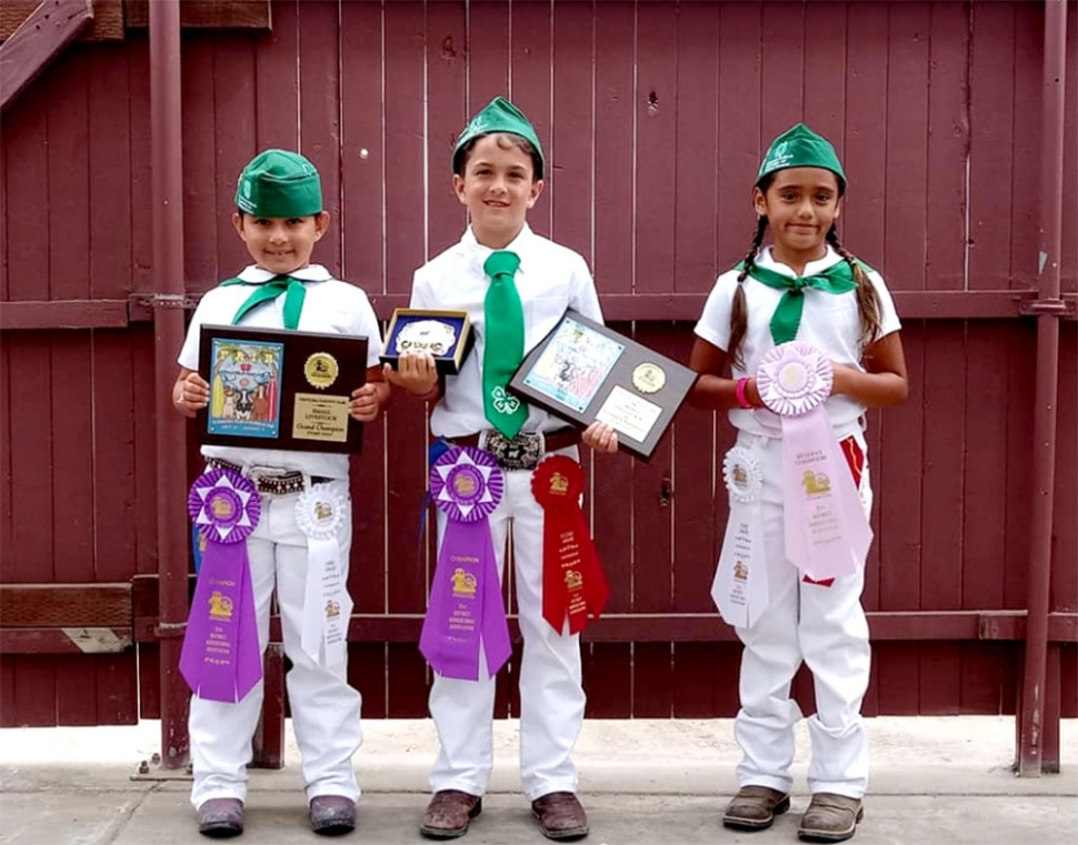 Pictured above are three of this year's winners in the Pygmy Goat show: Isabella Zavala, Supreme Grand Champion Unregistered Pygmy, 3rd place Junior Showmanship; Ethan Zavala, Supreme Grand Champion Registered Pygmy, 2nd place Junior Showmanship; and Sophia Ocegueda, Reserve Champion Unregistered Pygmy, 3rd place Showmanship.