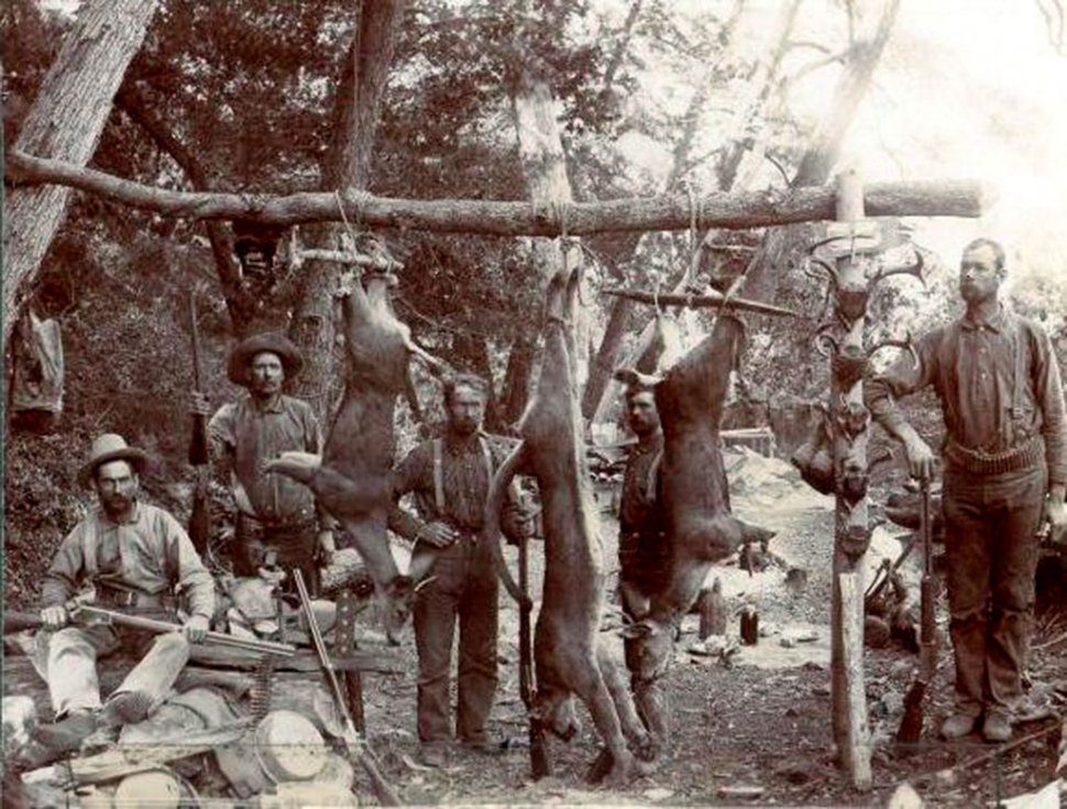 Hunting party in the Agua Blanca with (L to R) Ed Welch, Charley Welch, Nate Stone, Wright Burson, Alfred Stone.