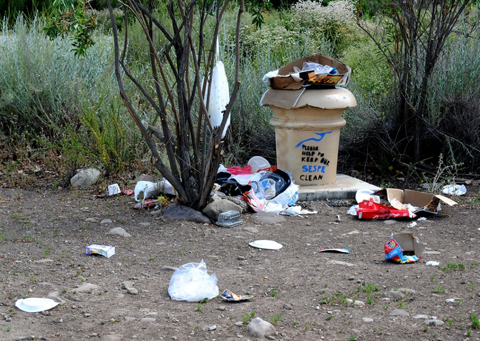 If you are enjoying the beauty of the Sespe Creek with your friends and family, please keep it clean! Pictured is a mess left behind by some visitors.